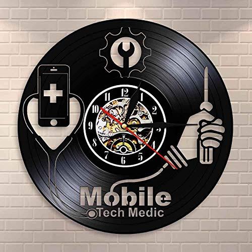 Tbqevc Dispositivo Inteligente Hospital señal Fija Tienda de reparación de teléfonos móviles Logo Arte de la Pared Reloj de Pared tecnología móvil Disco de Vinilo médico Reloj de Pared 12 Pulgadas