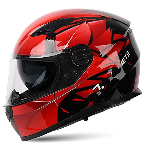 CDEAS Bluetooth Integrated Modular Flip up Full Face Motorcycle Helmet,Full Face Motorcycle Street Bike Helmet Sun Shield Mp3 Intercom (L, Black)