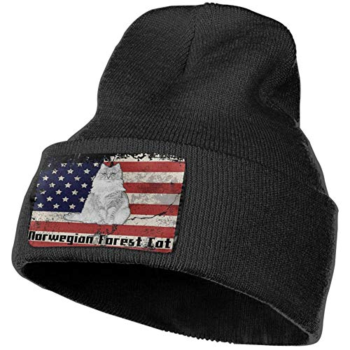 AEMAPE Norwegian Forest Cat America Flag Sombrero de Punto Unisex Gorra de Calavera de Moda Sombreros de Tejer