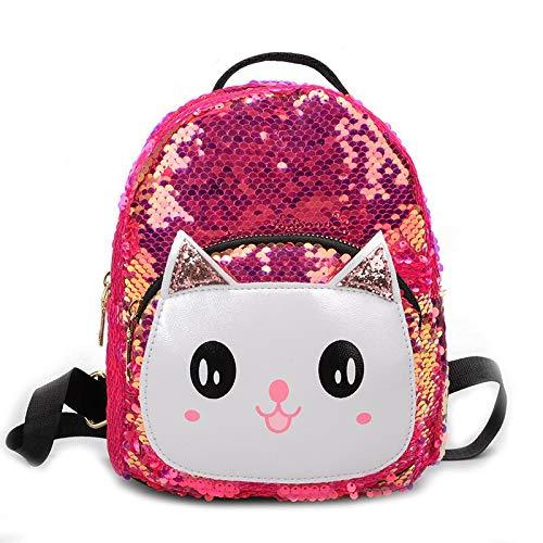 Women Girls Dazzling Sequins Backpack with Cute Ears Shoulder Bag Satchel