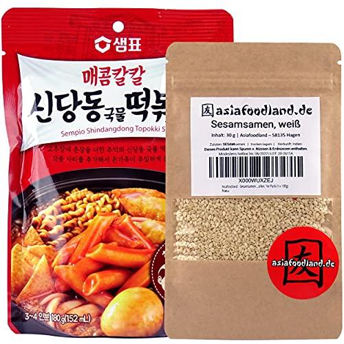 asiafoodland - Shindangdong (red Pepper) Sauce Set für Tteok-bokki / Topokki inkl. Sesam, 1er Pack (1x 160g)