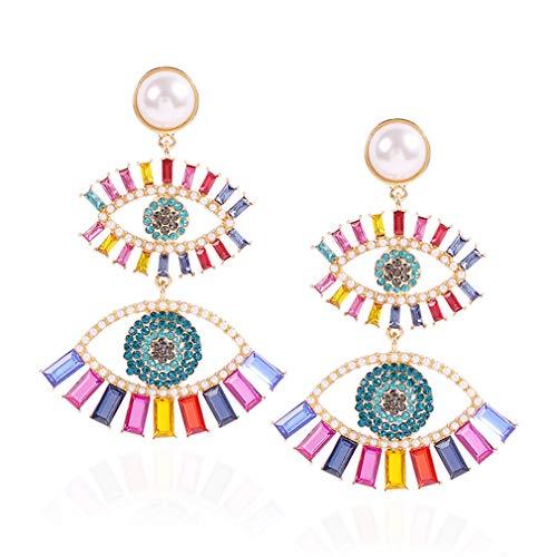 Ai.Moichien Rhinestone Pearls Dangle Earrings Gold Plated Eye Shape Jewelry Colorful Prom Elegant Dainty Women Sensitive Ears Accessories