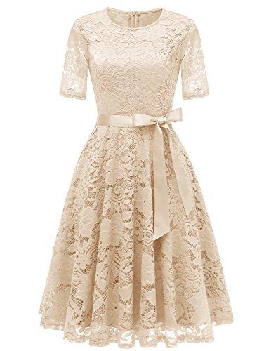 DRESSTELLS Damen Hochzeitkleid Spitzenkleid Cocktailkleid Knielang Partykleid Abendkleid Champagne L