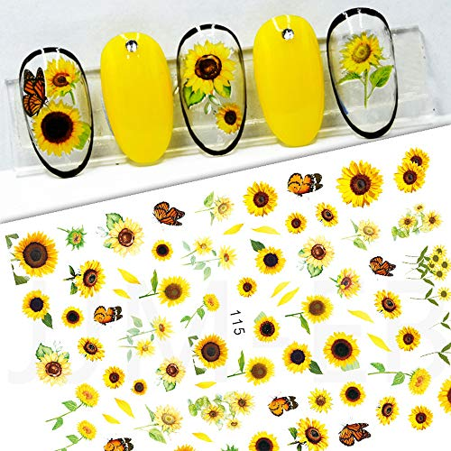Bonnie-Sam Nail Decal Sticker Spring Sunflower Daisy Flower Series 8 Sheets Self-Adhesive Back Glue (Pattern A)