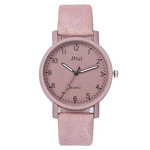 Evansamp Damen-Armbanduhr, einfache Retro-Matte, arabische Ziffern, Lederarmband, Schnalle, Rose (Pink) - Evansamp20113