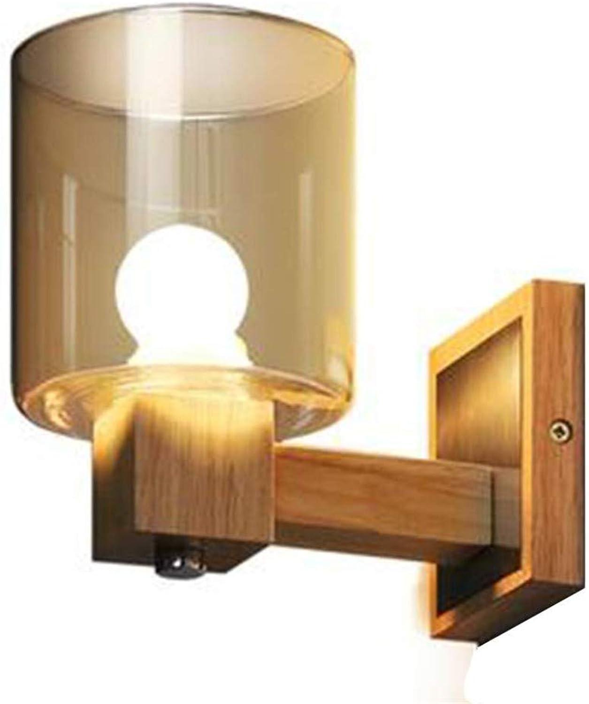 Aussenlampe Wandbeleuchtung Wandlampe Wandleuchte Innen Spiegel Scheinwerfer Bettkopf Glaslampe Balkon Gang Lampe Geschenk (Farbe  Braun, Gre  19  18.5  12Cm)
