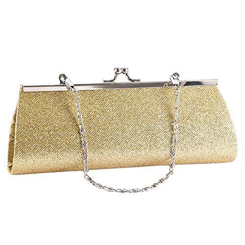 Umhängetasche Damen Clutch Frau Abendtasche Shiny Glitter Clutch Geldbörse Tasche Abendparty Hochzeit Braut Bankett Kette Handtasche Umhängetasche Gold