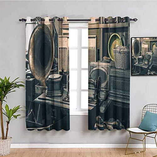 Cortinas opacas de alta calidad de decoración antigua, inventario antiguo Gramófono máquina de coser y otras cosas de principios del siglo XX fáciles de instalar W63 x L72 pulgadas