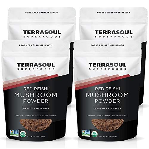 Terrasoul Superfoods Organic Reishi Mushroom Powder (4:1 Extract), 22 Oz (4 Pack) - Immune Boosting | Coffee Enhancer | Deeper Sleep