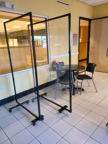Portable Partition Dividers 75'H x 38'W - Clear Screens Sanitation Walls/Great for Offices, Salons, Clinics, Nail Salons, and Restaurants (Black)