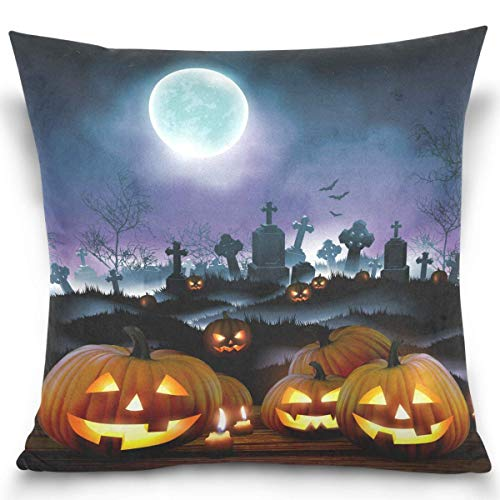 Moily Fayshow Halloween Cemetery Moon Throw Pillow Covers Square Decorative Pillowcase Cushion Cover For Sofa Bedroom Livingroom 40X40 Cm