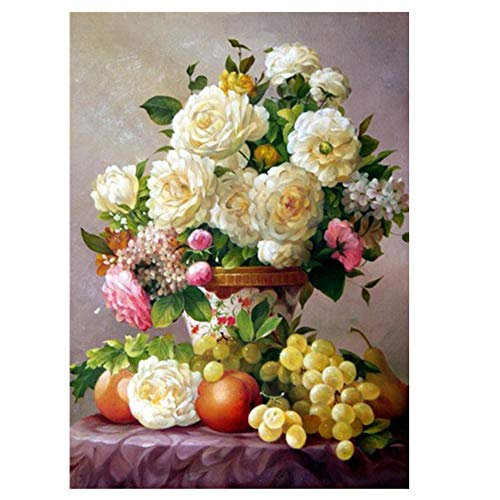 DIY 5D Diamond Painting, Rich Vase, 30 x 40 cm, Crystal Rhinestone Embroidery Pictures Arts Craft for Home Wall Decor Full Drill Contemporary 30 x 40 cm Flower A