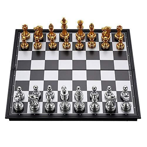 AWY Klapp Magnetische Reise Schachspiel, Tragbare Lagerung Reise Schachspiel Fach Für Kinder Oder Erwachsene Schach Brettspiel 25X25 cm / 10 in (Gold & Silber)