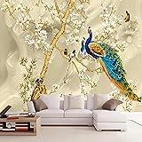 Fotomurales Árbol genealógico de aves Peacock Brothers 300x210 cm - 6 Strips Papel tapiz 3D Papel pintado tejido no tejido Pared Sala Cuarto Oficina