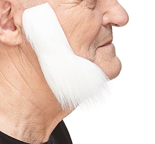 Mustaches Self Adhesive, Novelty, Fake Mutton Chops Sideburns, False Facial Hair, Costume Accessory for Adults, White Color