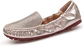 791d66f20c7 DETAIWIN Women s Soft Loafers Bouncy Flexible Comfotable Shiny Crystal  Flexible Round Toe Slip On Driving Moccasins