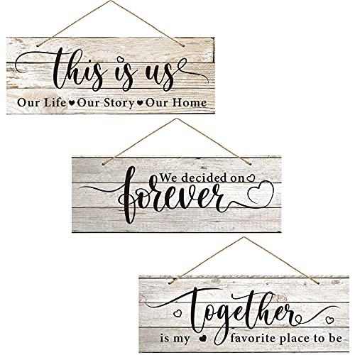 3 Letreros Colgante de Madera Rústicos con Tema de Amor Cartel de Together is My Favorite Place to Be Placa de This is Us Letrero de We Decided on Forever Decoraciones de Pared Rústicas