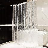 OTraki Duschvorhang 200 x 200 cm Anti Schimmel, Eva Duschvorhänge PVC-frei Umweltfre&lich Badvorhänge Waschbar Shower Curtains 3D Wasserdicht &mit 12 Ringe Bad Vorhang Halbtransparent