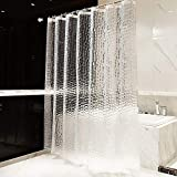OTraki Tenda Doccia Antimuffa 200 x 200 cm Pesante, Eva Tenda per Vasca da Bagno Spessa Impermeabile Traslucido Effetto 3D con 13 Gancio in Plastica