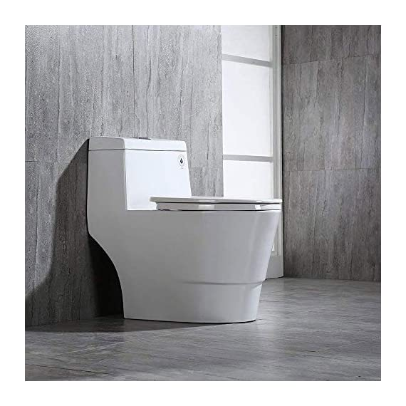 WOODBRIDGE T-0001, Dual Flush Elongated One Piece Toilet with Soft Closing Seat, Comfort Height, Water Sense, High-Efficiency, Rectangle Button B-0940 Pure White 5 <p>✅ : Ship from warehouse directly ; Fast shipment Thant regular order ✅ : Luxurious Modern Design one piece toilet , Clean, sleek look and compliment with different styles like modern , craftsman , traditional and etc. ✅: The skirted trap way creates a sleek look and makes cleaning easier. Compare to other toilets, it has no corners and grooves, very easy to reach for cleaning . ✅: Siphon Flushing one piece toilet, Fully glazed flush system , bringing a super quiet and powerful flushing - NO clogs, NO leaks, and NO problem ✅: Comfort Height Design, Chair-height seating that makes sitting down and standing up easier for most adults ✅ High end Soft Closing Toilet Seat with Stainless Steel Durable Seat Hinge, Easy to get the toilet seat off to tighten or clean after years of use. ✅ : Package Includes toilet, pre-installed soft closing toilet seat, pre-installed water fitting , high quality wax ring , floor bolts , and installation instruction, also Include special hand wrench tool to easily tighten the bolts in narrow spaces. ✅ : US & Canada UPC & CSA certified products. High-efficiency, Water Sense Certified toilet - meet or exceed ANSI Z124. 1 & ANSI A112-19. 7 ✅ : 5 year limited on porcelain parts against fading/staining of the glaze; 1 Year on flushing mechanism & soft closing toilet seat , Woodbridge US based product support team is happy to assist with any sales or product-oriented queries.</p>