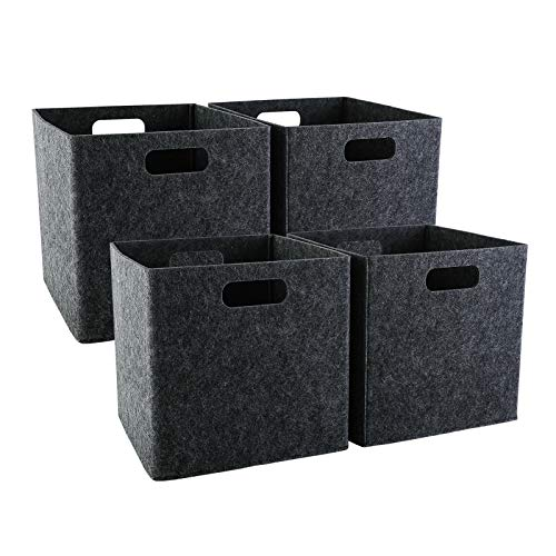 GOHOME Foldable Storage Cubes 4 Pack, Cube Storage Bins with Dual Handles, Felt Storage Baskets for Cube Organizer, Shelves, Closet, Nursery, Office - Dark Grey