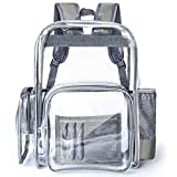 Clear Backpack, F-color Large Heavy Duty Sturdy Waterproof PVC Oxford Fabric Bottom Transparent Clear Bag for Women, Men, School, Work, Security, Stadium, Travel, Grey