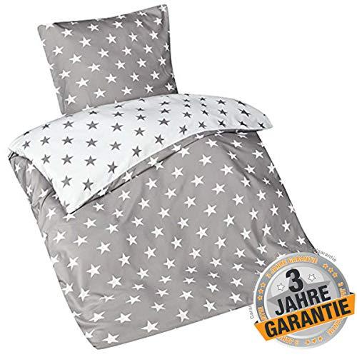 Aminata kids schöne Bettwäsche-Set Sterne-Motiv 135 x 200 cm + 80 x 80 cm Männer, Damen & Jugendliche aus Mikrofaser mit Reißverschluss, unsere Kinder-Bettwäsche mit Stern-Motiv, grau, weiß, Stars