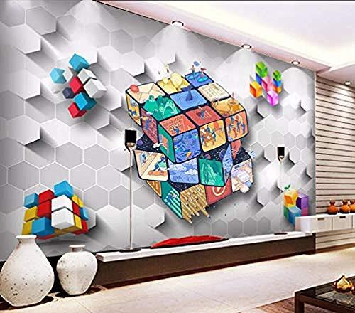 Dibujos animados Rubik s Cube Paper Habitación de los niños Mural 3D DIY Decoración de la pared Sala de e Pared Pintado Papel tapiz Decoración dormitorio Fotomural sala sofá mural-430cm×300cm