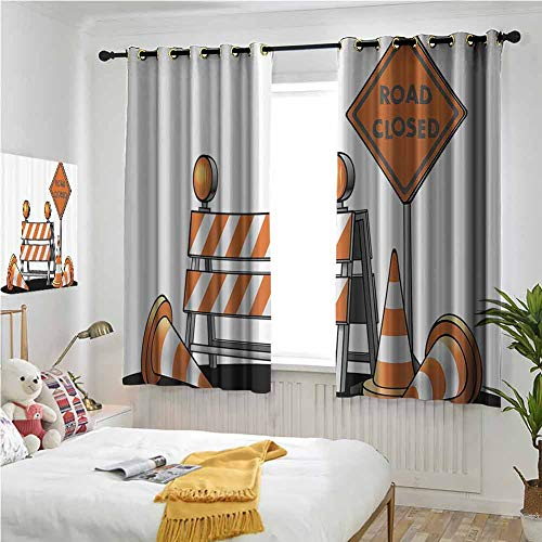 Light Orange and Grey Grommet Curtains 55 Inch Lenght, Logo Decor Country Curtains 63x55 Inch Road Closed Sign Traffic Warning Symbol with Blocker Stop Illustration Dark Out Double Layer Curtain