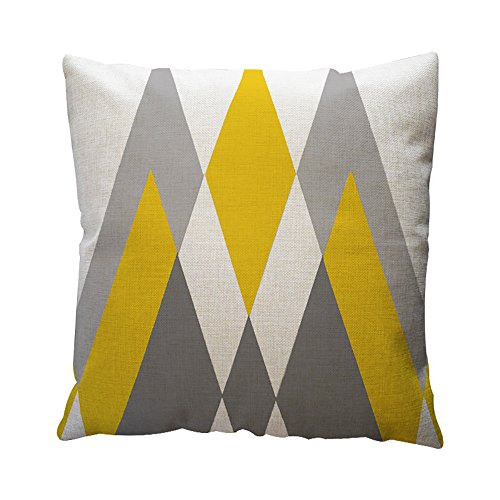OYSOHE Baumwolle Leinen Kissenbezug Gelbe Geometrische Muster Dekokissen Fall Kissenbezug (A,Einheitsgröße
