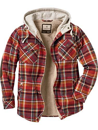 Legendary Whitetails Herren Camp Night Berber Lined Hooded Flannel Langärmelig, Kardinalrot kariert, XX-Large