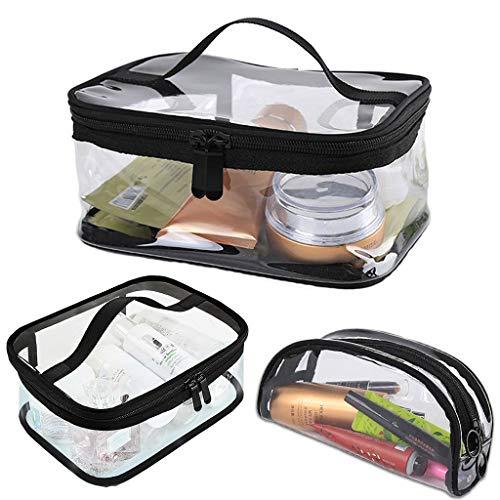 Waterproof 3pcs Toiletry Cosmetic Makeup PVC Travel Wash Bag Clear Transparent Pattern Plastic Simple Patterned Holder Bag Set, Small Medium Large