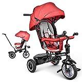 besrey Triciclo Evolutivo de Bebé para Niños de 1 a 6 Años, Triciclo Infantil con Asiento Reclinable Reversible y Asa para Los Padres, Bicicleta de Bebé 7 en 1