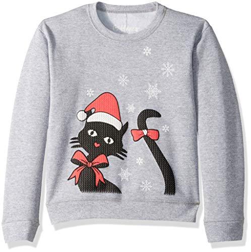 Hanes Girls' Big Ugly Christmas Sweatshirt, Light Steel, X Small
