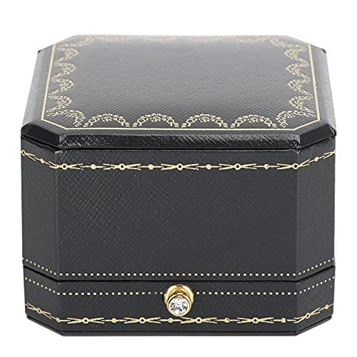 Liyong Caja de Regalo de Anillo de joyería, Caja de Anillo Suave de Material Compuesto 2 Piezas para cumpleaños para propuesta de Compromiso de Boda(Caja de un Solo Anillo Azul)