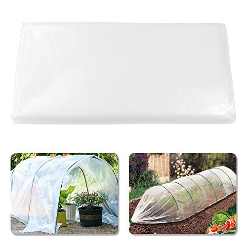 YBB 4.9 x 9.8 Feet Clear Plastic Greenhouse Film, 6 mil Thickness Premium Polyethylene Greenhouse Garden Plant Cover Sheeting, Supply 5 Years for Freeze Frost Protection UV Resistant