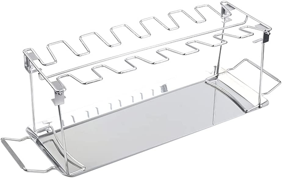 MOdeush Chicken Wing Leg Rack 14 Slots Stainless Steel Vertical Roaster Stand & Drip Pan for Cooking Vegetables in BBQ Juices for Grill Smoker Or Oven (14-Slot)