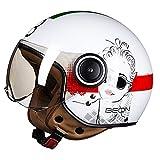 DDH Casco de Motocicleta, Casco Jet, Certificado por ECE y Punto, Casco de Scooter de piloto de Jet Vintage, visores Separados, Incluyendo Beige, m, l, XL-Bright White  M