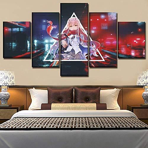 Impressions sur Toile Décor À La Maison 5 Panneaux Anime Chéri dans l'affiche Moderne HD HD Franxx Zero Two-maat * A