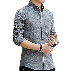 FLYSHION シャツ メンズ長袖オックスフォードシャツ ボタンダウンシャツ カジュアル コットン シャツ 無地春 秋 冬