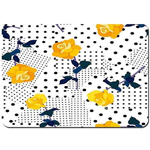 Antideslizante Alfombra De Baño,Patrones sin Fisuras Rosas Amarillas Puntos Negros,Alfombra de Cocina Alfombra Mascota,Alfombras de Ducha 80x60cm