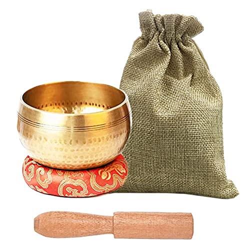 Eeauytr Juego de cuencos tibetanos para cantar – Juego de cuencos de meditación, para curación y atención plena con mazo de cojín y bolsa de almacenamiento, cuenco de sonido de meditación