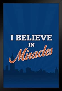 I Believe in Miracles Sports Baseball Black Wood Framed Poster 14x20