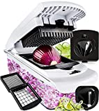 Fullstar Vegetable Chopper - Spiralizer Vegetable Slicer - Onion Chopper with Container - Pro Food Chopper - Black Slicer Dicer Cutter - 4 Blades