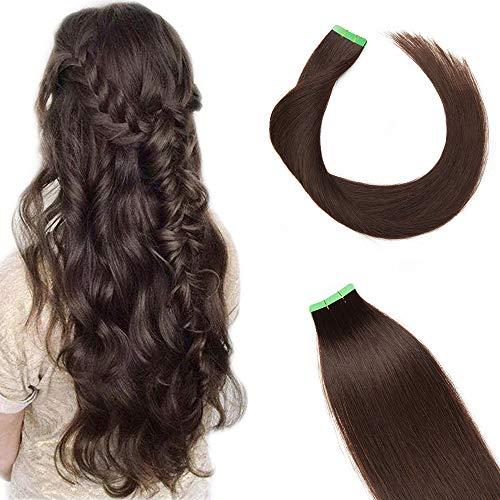 20'(50cm) Extensiones Adhesivas de Cabello Natural Sin Clip [2.5g*10pcs] #2 Castaño Oscuro 100% Remy Pelo Humano Tape in Hair Extensions (25g)