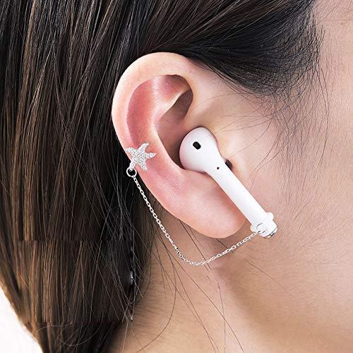 ALXDR S925 Pendientes De Estrellas De Mar del Oído del Perno Prisionero De Un Par para Los Oídos No Perforado En, Clips para Las Orejas Anti-Perdida para El Auricular De Bluetooth, Espumoso Ci