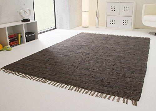 Handwebteppich Indira in Anthrazit - Handweb Teppich aus 100{bb232b3be7cc9d88ce31ee3c9504a6c4d88d542f6a2e1d9c103f689ebaceac5a} Baumwolle Fleckerl, Größe: 90x160 cm