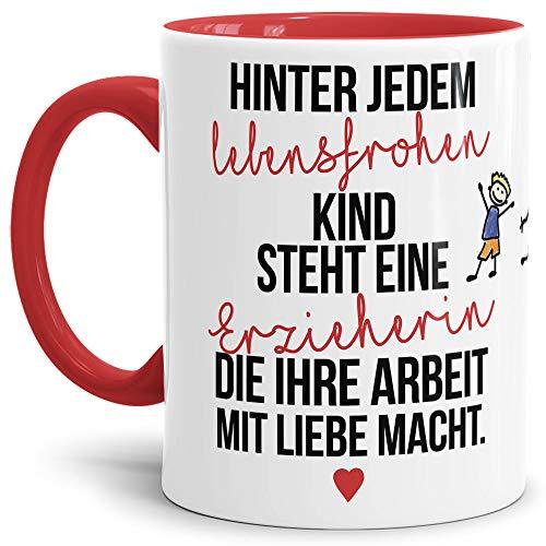 Tassendruck Erzieher-Tasse mit Spruch Hinter jedem Kind Steht eine Erzieherin - Kindergarten/Abschied/Geschenk-Idee/Dankeschön/Kita/Innen & Henkel Rot