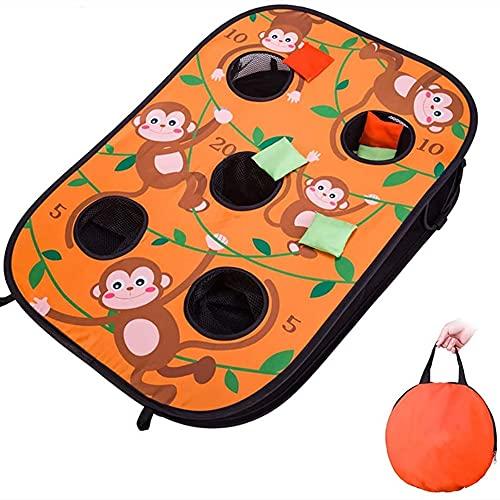 Zandzak game set, 4-holes zitzak speelgoed gooien spel met 10 zitzakken vouwen dubbelzijdig spel, kinderen buiten klap cadeau