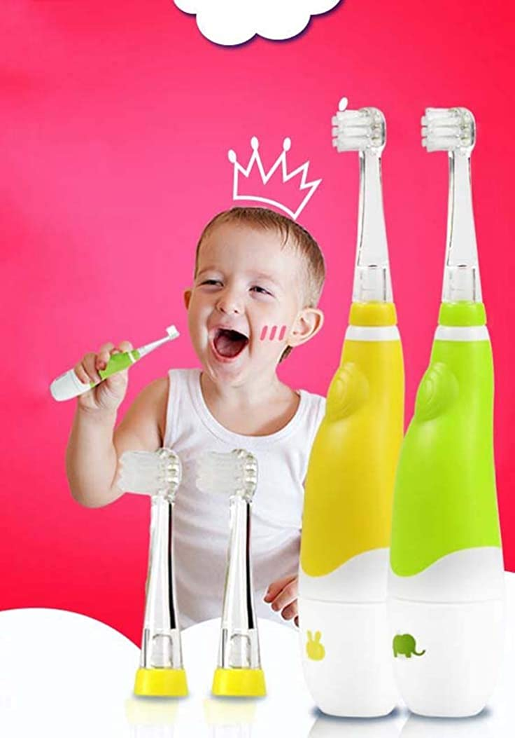 溶融ラショナル現金子供の電動歯ブラシ、赤ちゃんの自動歯ブラシ、スマートタイマー付きミュート防水電動歯ブラシ、0?4歳、乾電池(色:黄色)